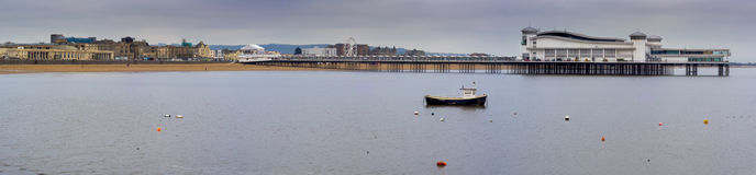 Grand Pier and beach at high tide, Weston-super-Mare Royalty Free Stock Image