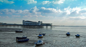 Grand Pier Weston-super-Mare. Seascape with moored boats Royalty Free Stock Images