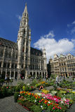 Grand Place, Brussels. Saturday flower market in front of City Hall, in Grand Place Brussels Belgium royalty free stock image