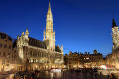 Grand Place, Brussels, Belgium. Wide angle night scene of the Grand Place, the focal point of Brussels, Belgium. The townhall (Hotel de Ville) is dominating the Royalty Free Stock Image
