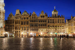 Grand Place, Brussels, Belgium. Elaborate row of baroque houses facing the Grand Place in Brussels, Belgium at night Royalty Free Stock Photo