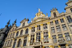 Grand Place of Brussels in Belgium. Buildings on the Grand Place in Brussels. This square resisted the attacks and bombings. Some buildings were rebuilt in the Stock Photos