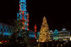 Grand Place, Brussels, Belgium with Christmas lights Stock Image