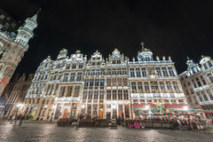 Grand Place - Brussels, Belgium. Guild Houses in the Grand Place in Brussels, Belgium at night Royalty Free Stock Images