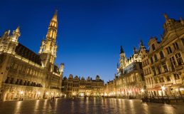 Grand Place from Brussels, Belgium - landscape. Grand Place from Brussels, Belgium by night - landscape Royalty Free Stock Images