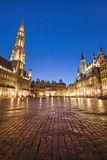 Grand Place from Brussels, Belgium by night. The famous Grand Place from Brussels, Belgium by night - vertical view Royalty Free Stock Image