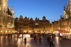 Grand Place, Brussels, Belgium. Night scene of the Grand Place, the focal point of Brussels, Belgium stock photos