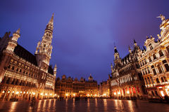Grand Place in Brussels, Belgium. After sunset royalty free stock images