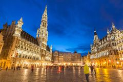 Grand Place in Brussels Belgium. Suset twilight royalty free stock image