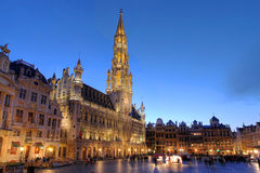 Grand Place, Brussels, Belgium. Wide angle night scene of the Grand Place, the focal point of Brussels, Belgium. The Town Hall (Hotel de Ville) is dominating the Royalty Free Stock Photo