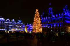 Grand Place in Brussels at Christmas Stock Photography