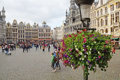 Grand Place in Brussels. Many tourists walk and look at beautiful buildings on the main square in Brussels. Flowers bloom on the Grand Place in Brussels royalty free stock photography
