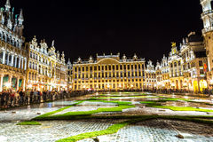 The Grand Place in Brussels. The Grand Place at night in Brussels, Belgium Stock Image