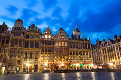 Grand Place in Brussels with night lights view Stock Photo
