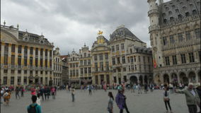 Grand place, brussels old city square, timelapse, 4k stock video