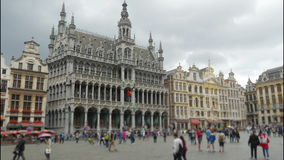 Grand place, brussels old city square, timelapse, 4k stock video footage