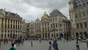 Grand place, brussels old city square, timelapse, zoom in, 4k stock video