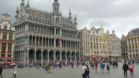 Grand place, brussels old city square, timelapse, zoom out, 4k stock video