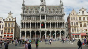 Grand place, brussels old city square, timelapse, zoom out, 4k stock video footage