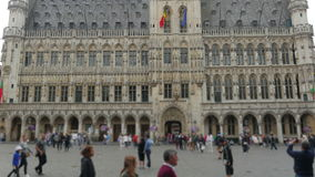Grand place, brussels old city square, timelapse, zoom out, 4k stock footage