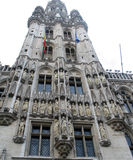 Grand Place Brussels - Tower. The tower of the Town Hall building on the central market square in Brussels known as the Grand Place or Grote Markt.  It is one of Stock Photo