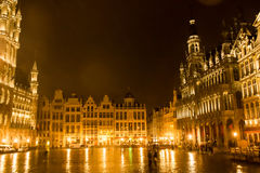 Grand Place, Brussels: view from the center to Northeast side Royalty Free Stock Image
