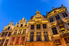 Grand Place, Bruxelles, Belgium. Bruxelles, Belgium. Night image with Grand Place (Grote Markt) and medieval house facades stock photography