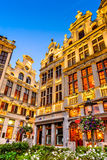 Grand Place, Bruxelles, Belgium. Bruxelles, Belgium. Twilight image with Grand Place in Brussels (Grote Markt) and medieval architecture house facades Royalty Free Stock Photos