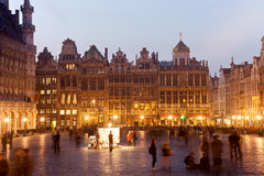 Grand Place in Bruxelles. Grand Place night scene with illuminated buildings, historical center of Bruxelles stock photos