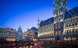 Grand Place Bryssel på jul Arkivbild