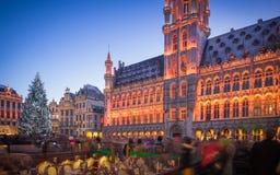 Grand Place Bryssel på jul Arkivfoto