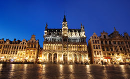 Grand Place buildings - Brussels, Belgium by night Royalty Free Stock Photos