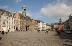 Grand Place and the City Hall, Mons, Belgium Stock Image