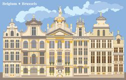 Grand Place coloré à Bruxelles illustration de vecteur