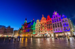 Grand Place with colorful lighting at Dusk in Brussels Stock Photography