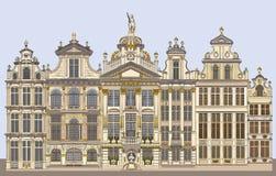 Grand Place colorido em Bruxelas, Bélgica ilustração do vetor