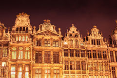 Grand Place. Detail of facades in Grand Place in Brussels at night. Belgium stock photo
