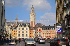 Grand Place featuring the 76m tall belfry tower in Lille Royalty Free Stock Photography