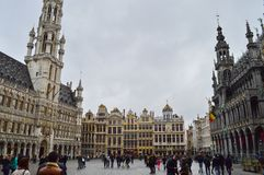 The Grand Place Grote Markt in Burssels, Belgium. The Grand Place is the central square of Brussels. It is surrounded by opulent guildhalls and two larger royalty free stock photos