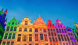 The Grand Place illuminated at night in Brussels, Belgium Royalty Free Stock Photos