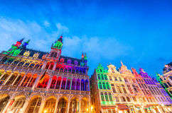 The Grand Place illuminated at night in Brussels, Belgium Stock Images