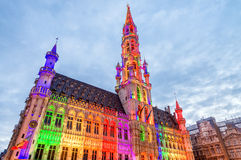 The Grand Place illuminated at night in Brussels, Belgium Stock Image