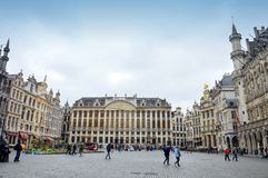 Grand Place, landmark of Belgium located at central square of Brussels City. Brussels, Belgium - April 2015: Grand Place, most memorable landmark of Belgium stock images