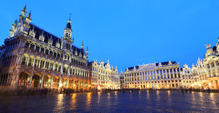 The Grand Place at night in Brussel Stock Photography