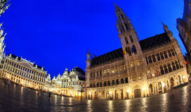 The Grand Place at night in Brussel Royalty Free Stock Images