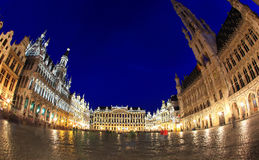 The Grand Place at night in Brussel Stock Photos