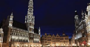 Grand place by night Royalty Free Stock Photos