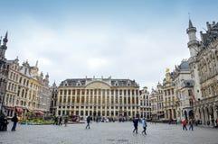 Grand Place, oriëntatiepunt van België bij centraal vierkant van de Stad die van Brussel wordt gevestigd stock afbeeldingen