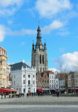 Grand Place and Saint-Martin's Church of Courtrai royalty free stock images