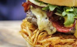 Grand plan rapproché savoureux d'hamburger Images libres de droits